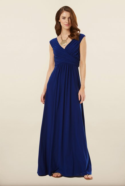 Phase Eight Blue Solid Maxi Dress