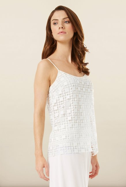 Phase Eight White Lace Overlay Top
