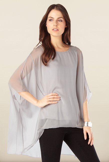 Phase Eight Grey High-Low Top