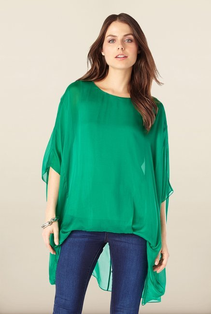 Phase Eight Green High-Low Top