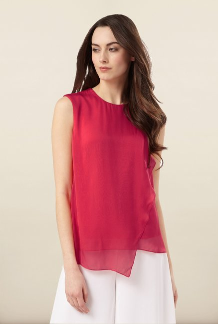 Phase Eight Pink Asymmetric Layer Top