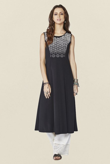 Global Desi Black Embroidered Acacia Kurta