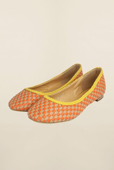 Cobblerz Orange & Beige Flat Ballerinas