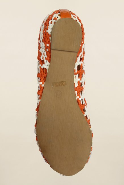 Cobblerz Orange & White Flat Sandals