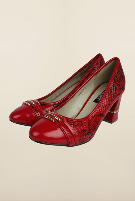 Cobblerz Red Block Heel Shoes