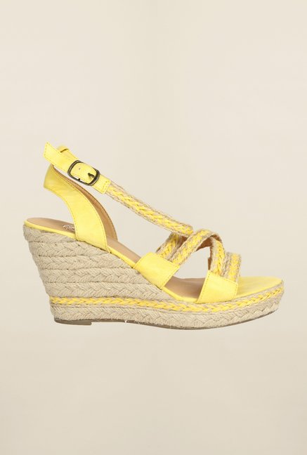 Cobblerz Yellow Wedge Sandals