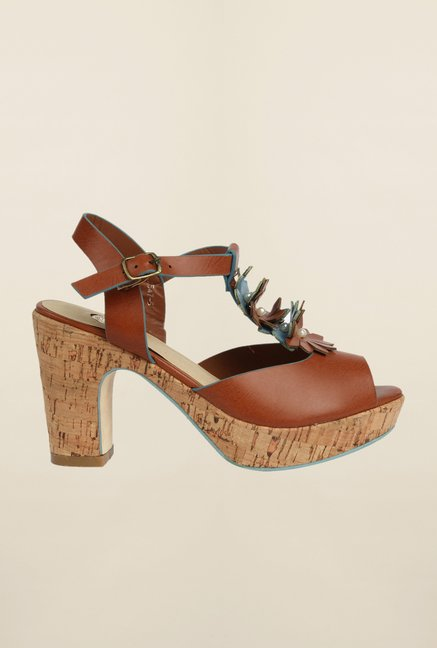 Cobblerz Brown Block Heel Sandals