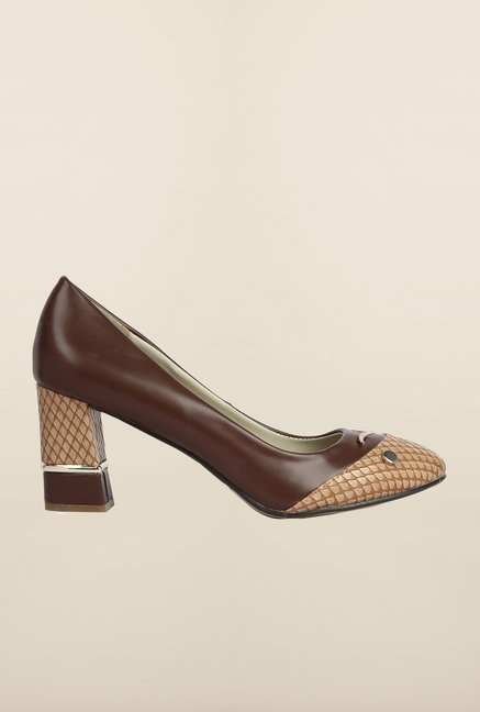 Cobblerz Brown & Beige Block Shoes