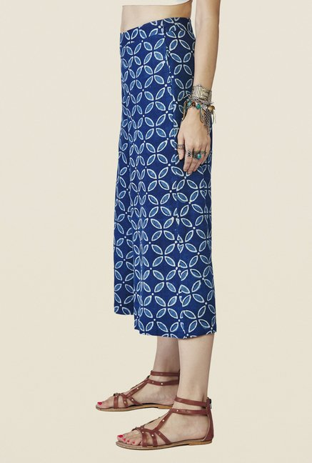 Global Desi Blue Printed Culottes