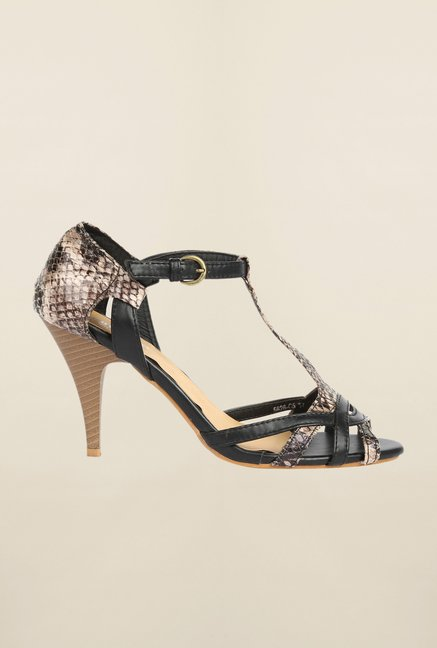 Cobblerz Black & Beige Stiletto Sandals