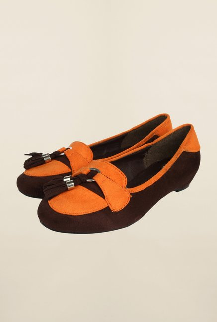 Cobblerz Brown & Orange Ballerina Shoes