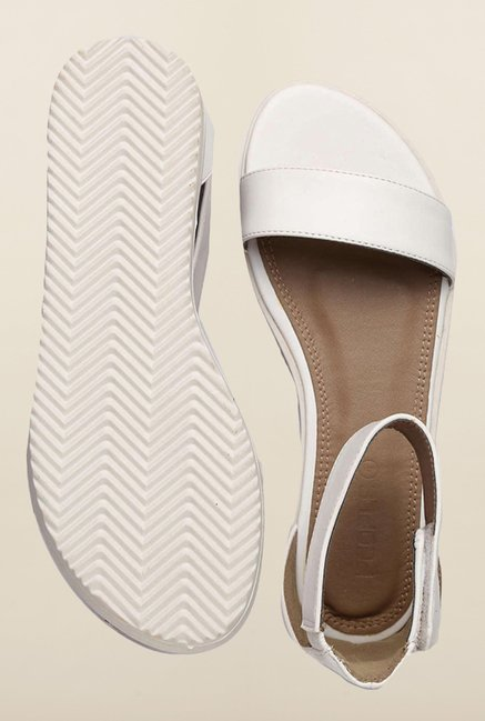 People White Ankle Strap Sandals