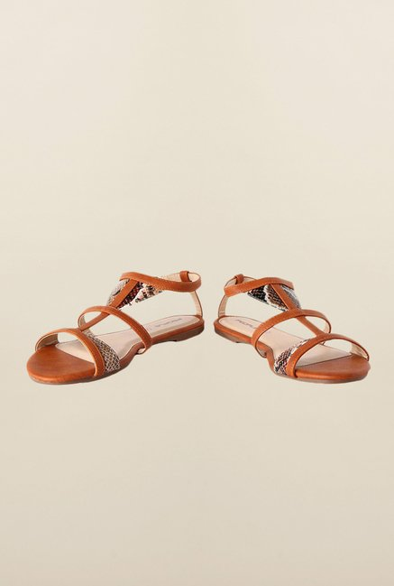 People Brown Ankle Strap Sandals