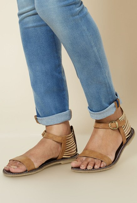 Zudio Tan Ankle Strap Sandals