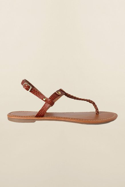 People Brown Back Strap Sandals