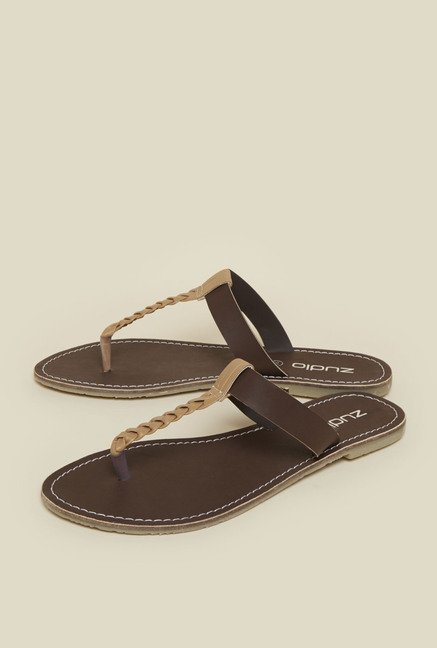 Zudio Brown Braided Strap Sandals