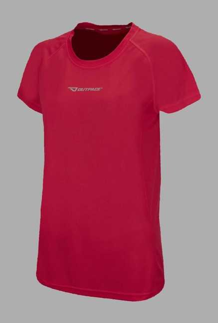 Outpace Pink Solid Running T Shirt