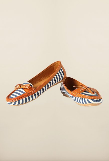 Allen Solly Brown & Blue Flat Moccasins