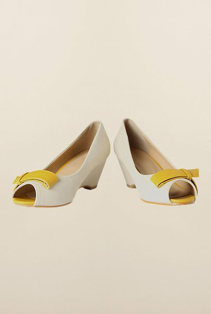 Allen Solly Off White Peep Toe Shoes
