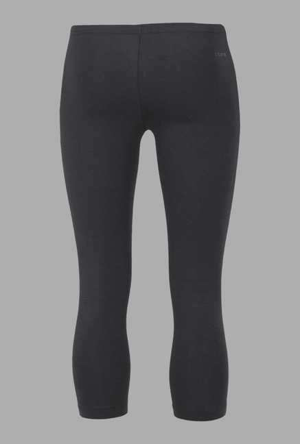 Doone Black Solid High Rise Training Capri
