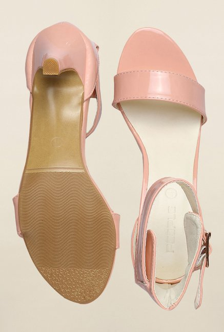 People Peach Ankle Strap Stilettos
