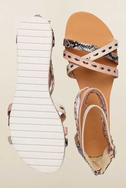 People Multicolor Ankle Strap Sandals