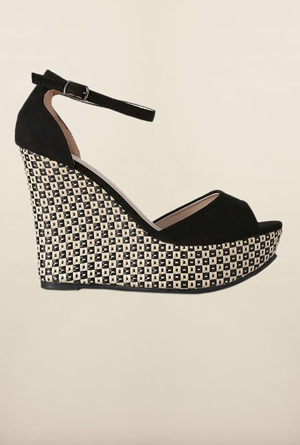 Van Heusen Black Ankle Strap Wedges