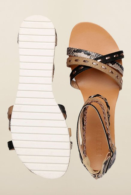 People Brown & Black Ankle Strap Sandals
