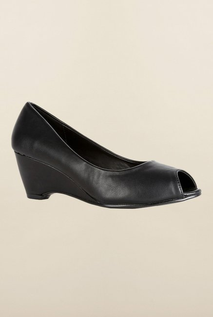 Van Heusen Black Peep Toe Wedges