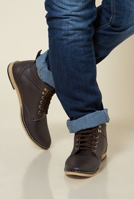 Zudio Dark Brown Biker Boots
