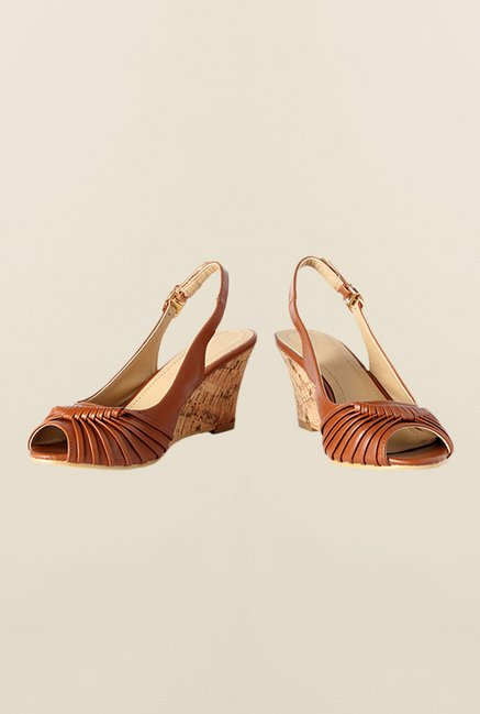 Allen Solly Brown Back Strap Wedges
