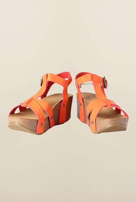 Allen Solly Orange Ankle Strap Wedges