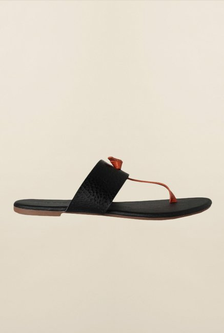 People Black & Red Thong Sandals
