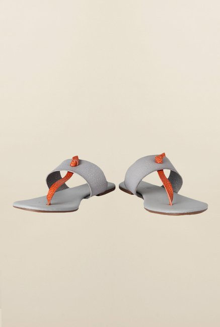 People Grey & Red Thong Sandals
