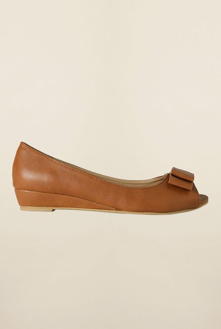 Allen Solly Brown Peep Toe Wedges
