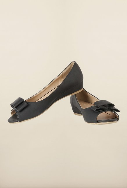 Allen Solly Black Peep Toe Wedges