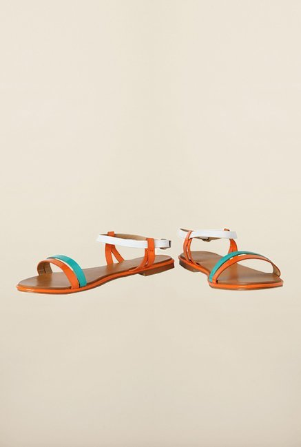 Allen Solly Orange & White Back Strap Sandals