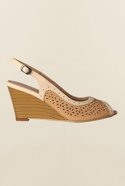 Allen Solly Brown & Beige Back Strap Wedges