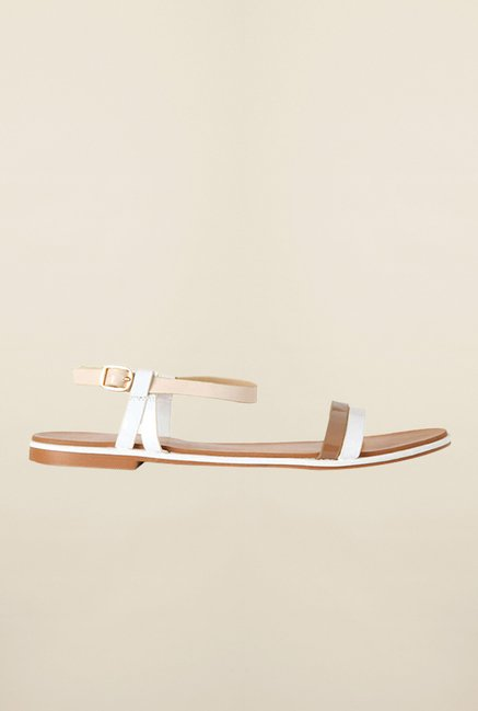 Allen Solly White & Beige Back Strap Sandals