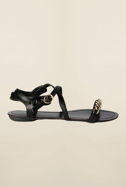 Van Heusen Black Ankle Strap Sandals