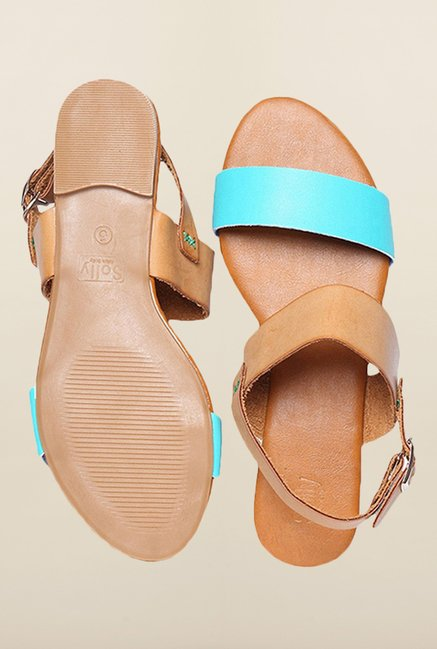 Allen Solly Turquoise & Tan Back Strap Sandals