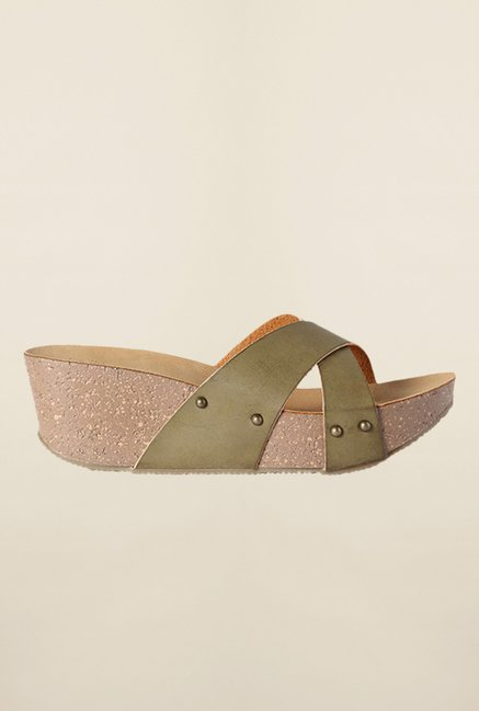 Allen Solly Olive Cross Strap Wedges