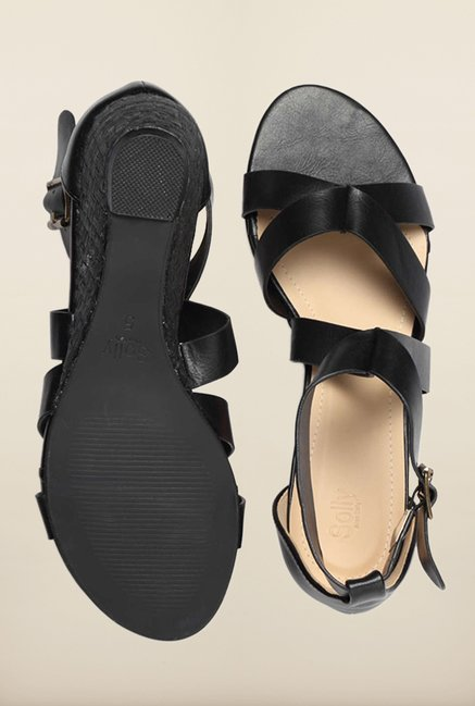 Allen Solly Black Ankle Strap Wedges
