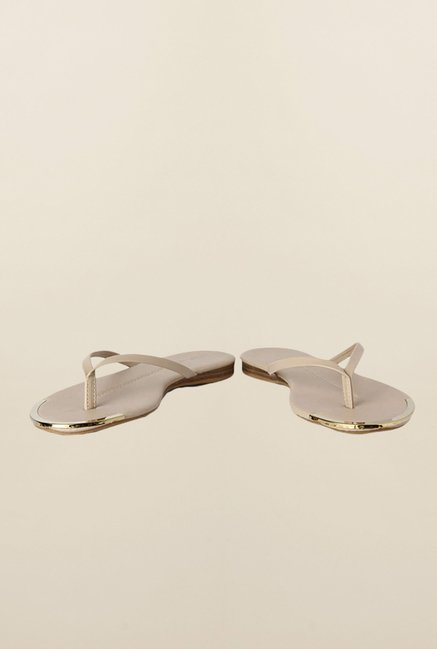 People Beige Flat Thong Sandals
