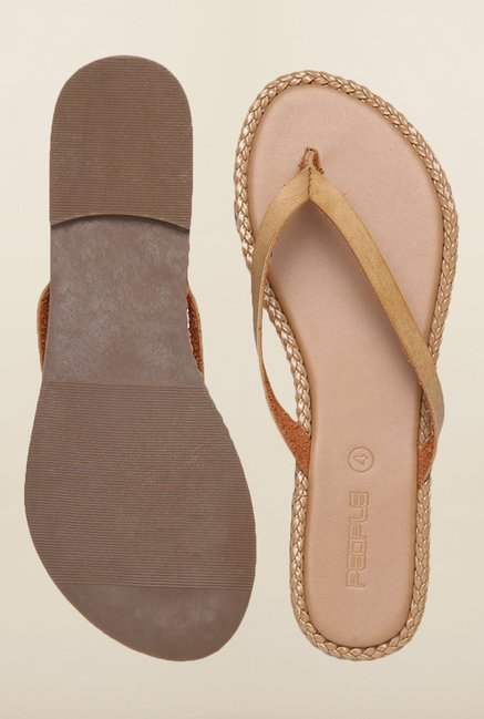 People Dark Beige Flat Sandals