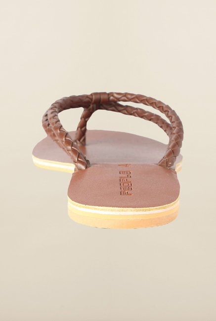 People Brown Flat Thong Sandals