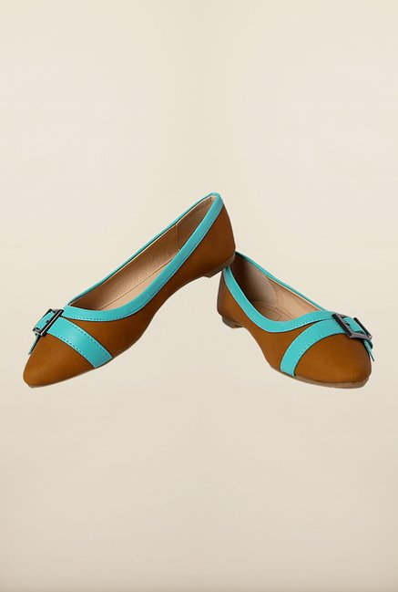 Allen Solly Brown & Turquoise Flat Ballerinas