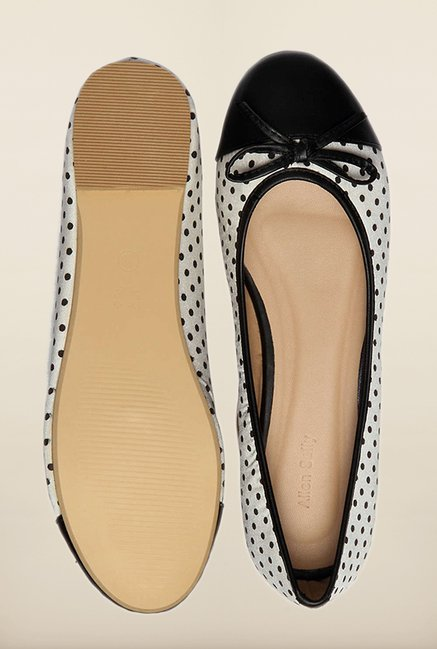 Allen Solly White & Black Flat Ballerinas