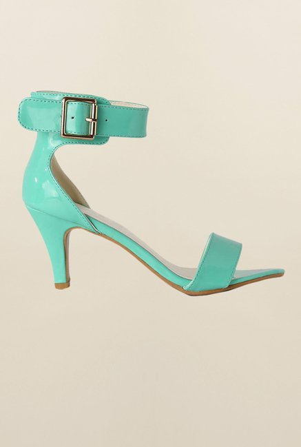 People Turquoise Ankle Strap Stilettos