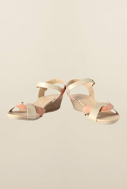 Allen Solly Peach Ankle Strap Wedges